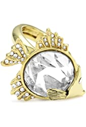 """Juicy Couture """"Shoreline Shades"""" Gem Fish Cocktail Gold Ring, Size 7"""