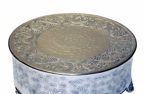 GiftBay Creations 743-12R Wedding Round Cake Stand, 12-Inch, Silver