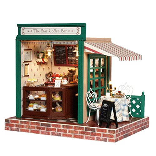 Rylai Wooden Handmade Dollhouse Miniature DIY Kit – The Star Coffee Bar Series Wooden Dollhouses with Furniture/Parts Furniture X'mas Gift( 1:24 Scal…