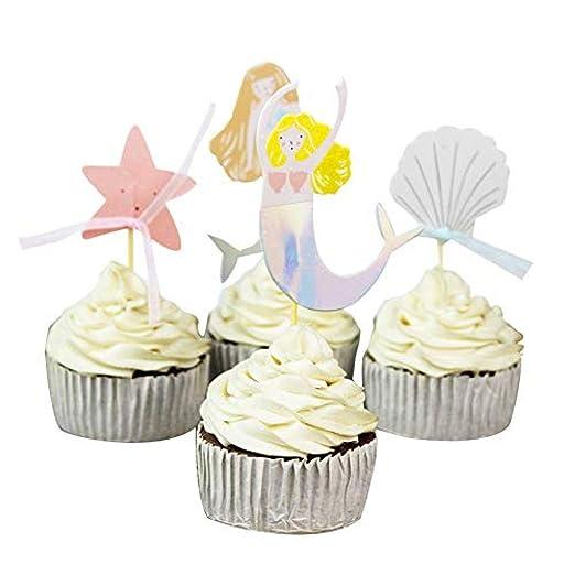 ZBBSHOP Sirena Cake Topper 24 Unids Shell Selección de ...