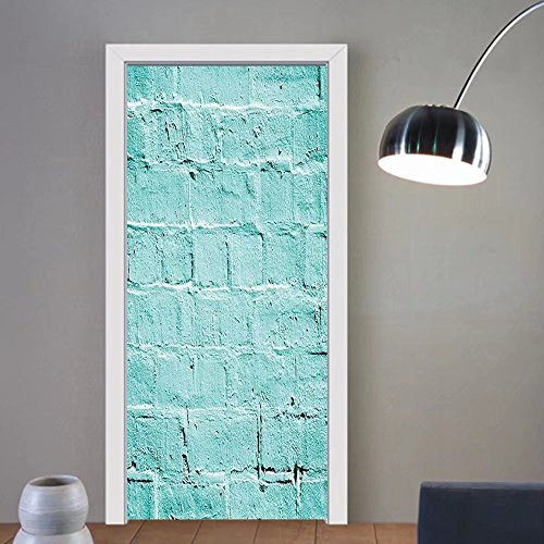 Gzhihine custom made 3d door stickers Mint Brick Old Background in Vibrant Tones Architecture Urban Building Artsy Picture Turquoise For Room Decor 30x79 by Gzhihine