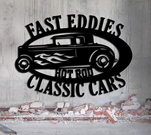 Hot Rod Garage - LARGE Personalized Sign - Metal Wall Art- 27x19 Customize It - Metal Wall Art Man Cave Father