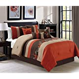 napa by chezmoi collection 7piece luxury leaves scroll embroidery bedding comforter set queen rust