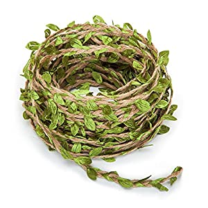 65 Feet Natural Jute Twine, Artificial Vine Fake Foliage Leaf Plant with Artificial Green Leaves for Macrame, Wall Decor Hanging, Wedding Bouquet Wrapping 70