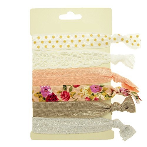 Floral Hair Elastic (Hair Ties Elastics Ouchless No Crease (Polka, Solid, Floral, Lace & Glitter) - 6 Pack
