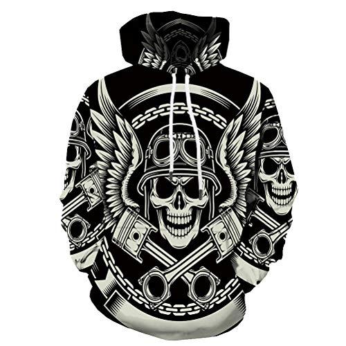 KYKU Skull Hoodies for Men Punk Rock Hoody Motorcycle Sweatshirt 3D Print Hoodie (Small)