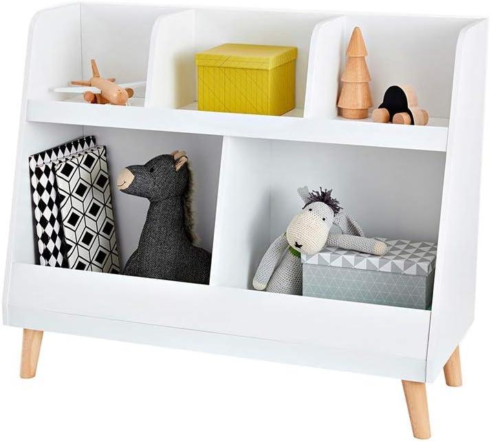 本の陳列台 子供のおもちゃの収納本棚の余地プレイルームとクラスルーム 大量の文庫本を保管できます (色 : 白, サイズ : 84x70x35cm)