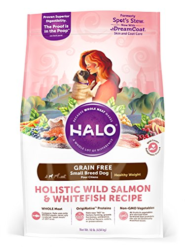 Halo Grain Free Natural Dry Dog Food, Small Breed Healthy Weight Wild Salmon & Whitefish Recipe, 10-Pound Bag (Halo Dog Food Grain Free)