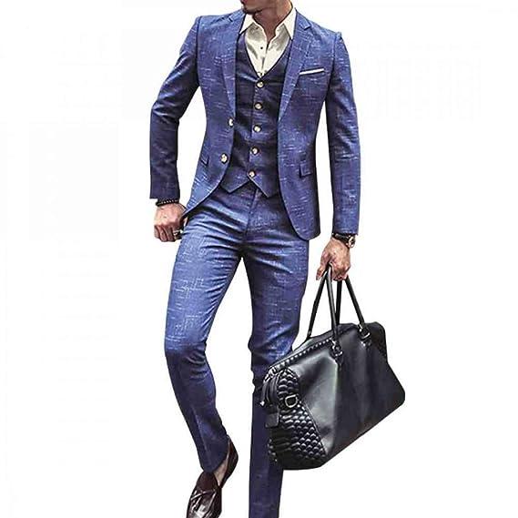 QZI Hombre Plaid Slim Fit Wedding Tuxedo Muesca Solapa Dos Botones ...
