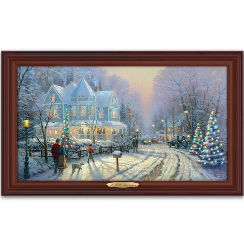 Thomas Kinkade Authentic Canvas Print: A Holiday Gathering by The Bradford Exchange ()