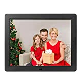 Véfaîî Digital Picture Frame 15 Inch Electronic Photo Music Video Frame Playback 512mb Internal Memroy + 6 Ft Power Cord, Supporting USB/SD Memory Card (Black)