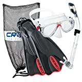 Cressi Palau Mask Fin Snorkel Set with Snorkeling Gear Bag, Red, M/L | (Men's 7-10) (Women's 8-11)