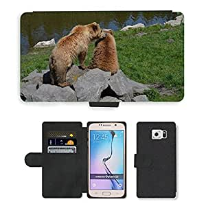 PU LEATHER case coque housse smartphone Flip bag Cover protection // M00134705 Oso Oso pardo animal de piel del mundo // Samsung Galaxy S6 (Not Fits S6 EDGE)