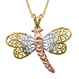 Just Gold Openwork Dragonfly Pendant Necklace in 10K Three-Tone Gold
