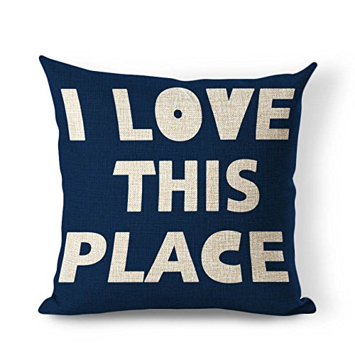 OneMtoss Decorative Contton Linen Pillow Case Cushion Cover 26X26 Inch - I Love This Place Navy Blue (Newport Pillow Covers)