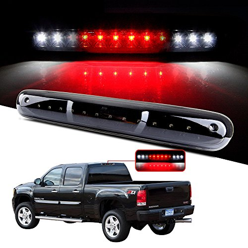 CCIYU LED 3rd Brake Lights Cargo Lamp Assembly Automotive Tail Lights Smoke Lens for 2007-2013 Chevy Silverado GMC Sierra (Black + Smoke Lens)