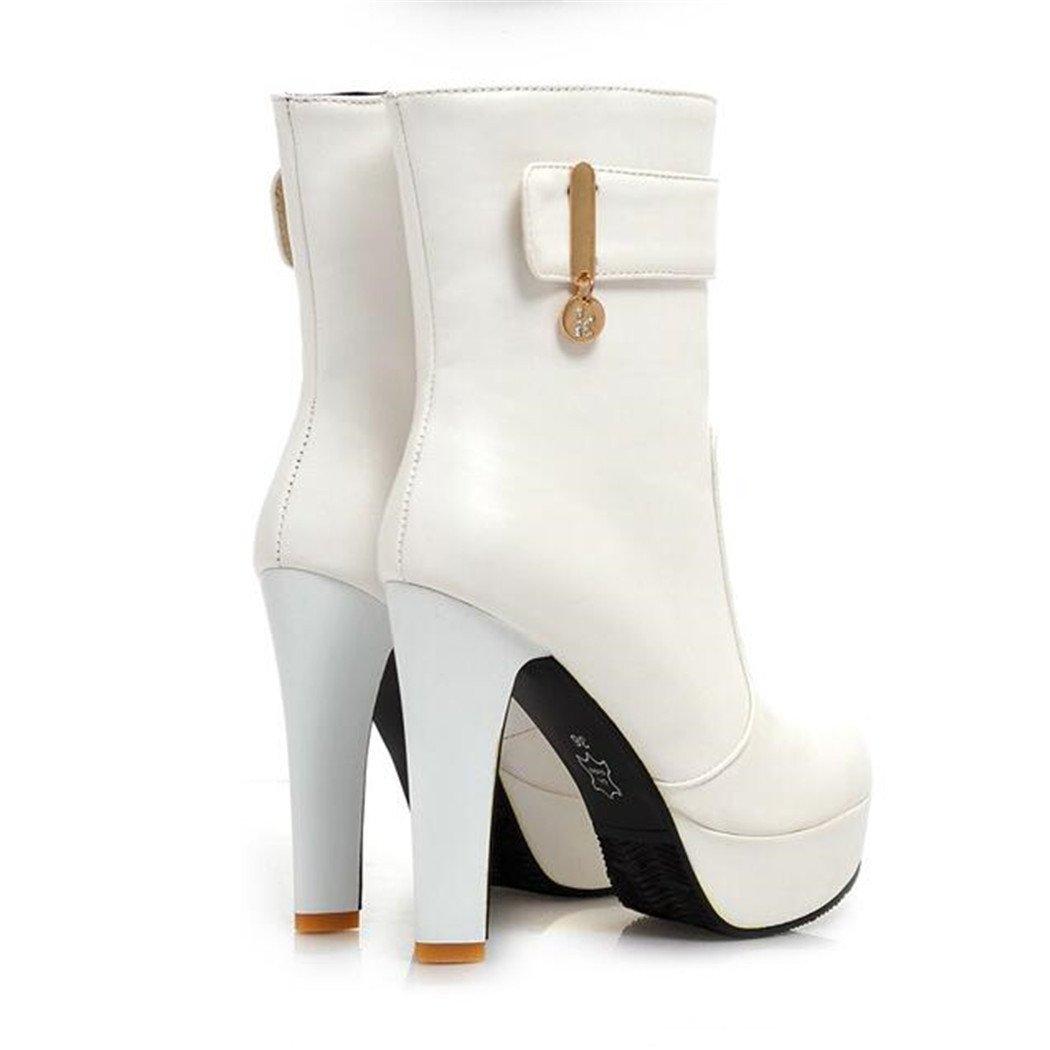 ZQ@QX Herbst und Winter runden Kopf dick mit einem einem einem minimalistischen und stilvolle große Werften, kurze barrel Stiefel weibliche Stiefel  Weiß db79c3