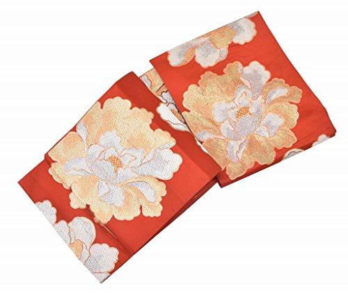 助言プラットフォーム強化袋帯 リサイクル 中古 正絹 振袖 ふくろおび 錦織 牡丹文様 オレンジ系 jj3085c