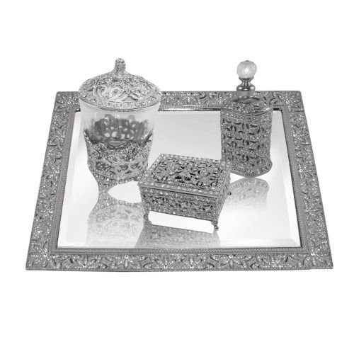 New Design Beveled Mirror Tray Vanity Set including Candle Holder, Jewelry Box, Perfume Bottle. by Artistique