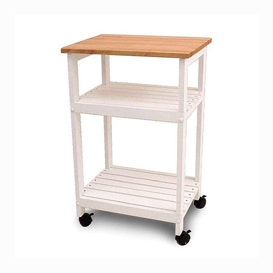 HEATAPPLY White Kitchen Microwave Cart with Butcher Block Top & Locking Caster, White Kitchen Microwave Cart with Butcher Block Top & Locking Casters by HEATAPPLY