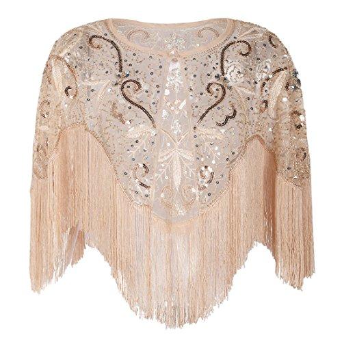 (PrettyGuide Women's Flapper Shawl Bead Sequin Inspired 1920s Gatsby Evening Warps Champagne Pink)