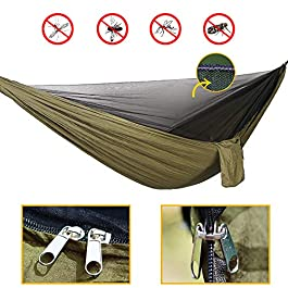 (Update to Oversized Rain Fly) Camping Hammock Set,Single Double Hammock,Mosquito net,Insect net,Rainfly,high Strength Parachute Fabric Hammock (Army Green Heavy Rain Fly),Outdoor, Hiking, Courtyard