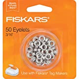 Fiskars Crafts 197700 Tag Maker 3/16in Silver Eyelets, 50 Pack, 3/16