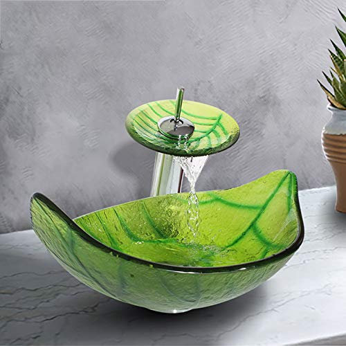 Leaf Copper Waterfalls (SHUICAO Green Leaf Shaped Transparent Bowl Vessel Bathroom Sink Hot Melted and Hand Painted with Waterfall Copper Faucets)
