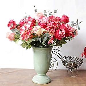 simoce 6 Heads Australian Rose Hydrangea Bouquet Silk Bouquet Home Party Wedding Décor Artificial Flower Props Fake Flowers (Red-Orangepink) 2