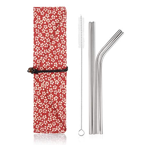 Stainless Steel Reusable Metal Straws -Portable Food Grade 4 Pack 8.5 Cleaning Brush and Stylish Cloth Bag case Included. Fit 20 oz. tumblers. (Red Flowers)