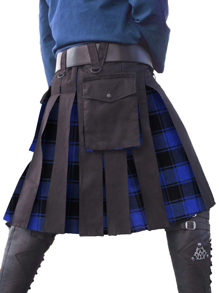 Taoliyuan Mens Kilt Scottish Highland Utility Traditional Hybrid Tartan Pleated Costume with Cargo Pockets by Taoliyuan