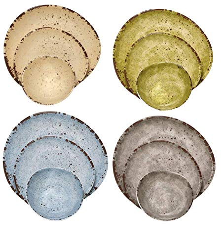 Melange 612409780256 612409780256 12-Piece 100% Melamine Dinnerware Set (Rustic Egg Collection) (Plates Rustic Melamine)