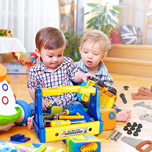 BFULL 70Pcs Kids Toy Tool Set Deluxe Toy Workbench Set Child Pretend Gifts Game