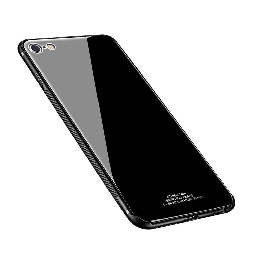 ANERNAI iPhone 6 Case Tempered Glass Back Cover + Soft TPU Bumper Scratch-Resistant Shock for iPhone 6(Black)