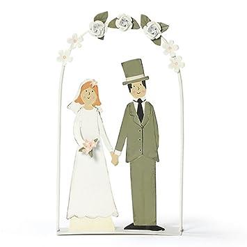 Baden Metall Deko Brautpaar Unter Rosenbogen Heirat Hochzeit Braut