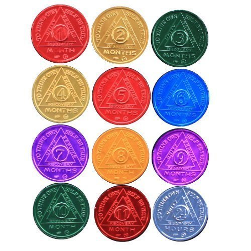 SET of 12 Recovery AA Medallion / Coins BSP 24hr-11mo Commemorative