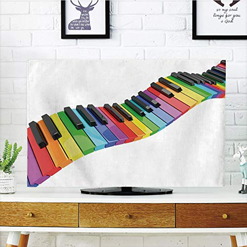 iPrint LCD TV dust Cover,Music,Vibrant Colored Piano Keyboard Wave Musician Arts Entertainment Harmony Instrument,Multicolor,3D Print Design Compatible 42