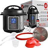 Mealthy MultiPot 9-in-1 Programmable Pressure Cooker 6 Quarts with Stainless Steel Pot, Steamer Basket, instant access to recipe app. Pressure cook, slow cook, sauté, rice cooker, yogurt, steam