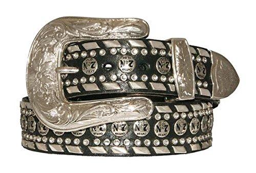 [Jack Daniel's Men's Old No.7 Conchos Bling Black Leather Belt - 1.5