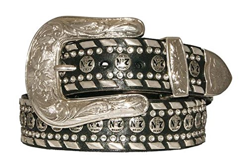 3 Piece Leather Concho Belt (Jack Daniel's Men's Old No.7 Conchos Bling Black Leather Belt - 1.5