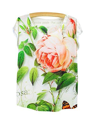 manica corta donna collo estate Acvip fiore con T tondo shirt ragazza top qH60aExn8