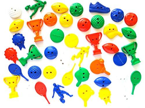 30Pcs Sport Theme Buttons 2 Holes, football, baseball, soccer, trophy, ball,