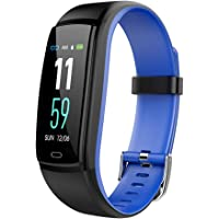 Color Screen Fitness Tracker, Activity Tracker Watch, IP67 Waterproof Smart Bracelet With Heart Rate Monitor, Men's, Women's And Children's Calorie Smart Computing Watch (Color : Blue)