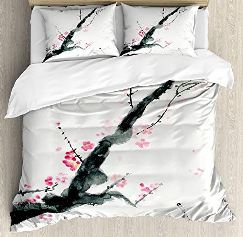 Full Size Dragonfly 4 Piece Bedding Set Duvet Cover Set, Branch of a Pink Cherry Blossom Sakura Tree Bud and A Dragonfly Dramatic Artisan, Comforter Cover Bedspread Pillow Cases with Zipper Closure