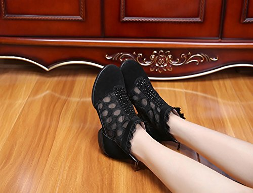 Shoes Color Dance Women's Shiny Leather Shoes Ballroom Shoes Lightweight Shoes Out Black Oxford Hollow B Size Lace Sneakers up Breathable A Modern Red 39 Summer ARaWAqnT
