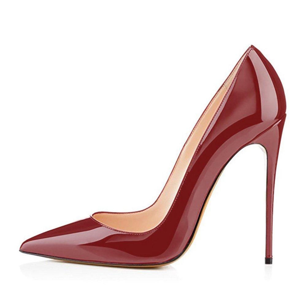 Burgundy UMEXI Women Pointed Toe High Heels Slip on Stilettos Wedding Party Dress shoes Plus Size Pumps