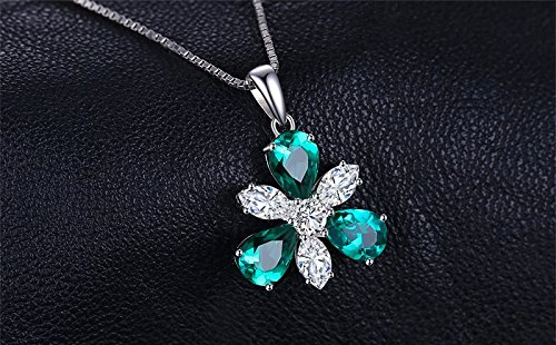 Luxury 7.6ct Pear Shape Nano Russian Simulated Emerald Flower Pendant 925 Sterling Silver Include a 45cm chain