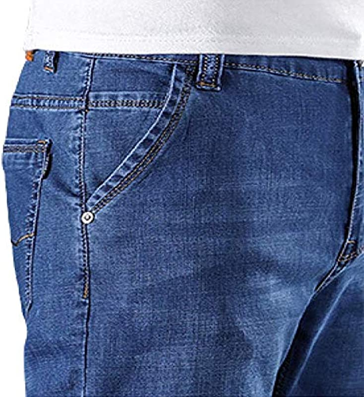 brandless Męskieshorts Jeansshorts Ultradünne, elastische, lockere, gerade, hoch taillierte, große Modehose: Odzież