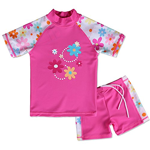 BAOHULU Girls Swimsuit UPF 50+ UV Protective 3-12 Years (11-12Y(Tag.No 14A), HotPinkShort)