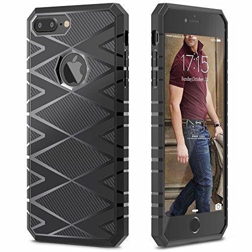 iPhone 7 Plus Funda, iSPECLE Fibra de Cabrono Funda Impermeable de iPhone 7 Plus con TPU Choque-absorición Protección Funda Carcasa para Apple iPhone 7 Plus Negro iPhone 7 Plus Funda Negro